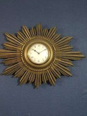 Period Starburst Wall Clock Gilded Circa 1900 Lovely Condition ..