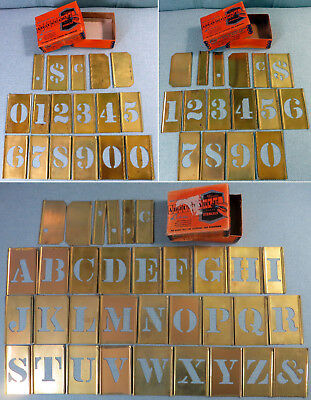 "Lot 66 Pieces Reese's Lockedge 1 1/2"" Adjustable Brass Letter & Number Stencils"