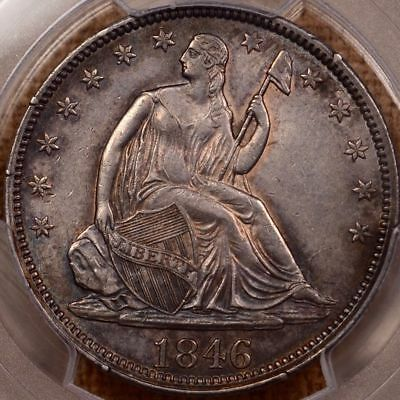 1846 Seated Half Dollar PCGS AU 55 TALL DATE /  Beautiful toning