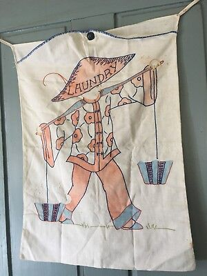 Vintage Antique Linen Embroidered Laundry Bag Handmade Chinese Laundry Beautiful