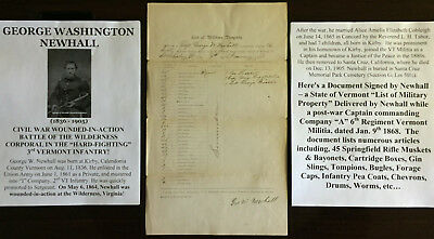 CIVIL WAR WIA BATTLE WILDERNESS CORPORAL 3rd VERMONT INFANTRY DOCUMENT SIGNED VG