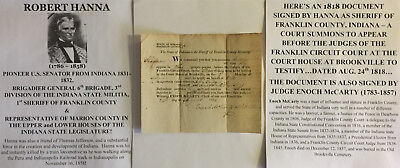 Pioneer Us Senator Franklin County Indiana General Sheriff Document Signed 1818
