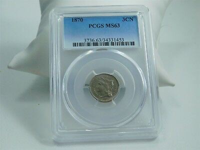 1870 3CN Three Cent Nickel 3-Cent Piece PCGS Certified MS63 BA0589