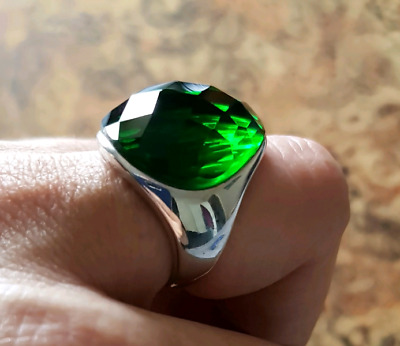 Created Emerald Ring, size 7.5, Sterling Silver, Deep GREEN, NEW