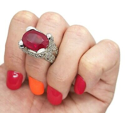 Statement Synthetic Ruby Ring, Size 7 1/4 US, Sterling Silver