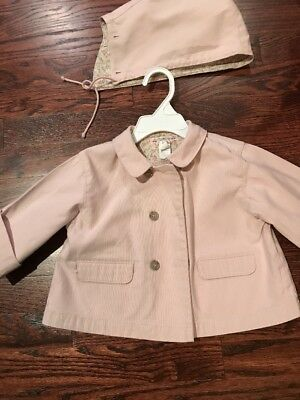 BONPOINT BABY GIRL PINK JACKET WITH DETACHABLE HOOD SIZE 18 Mos