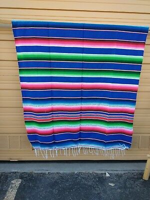 SERAPE XXL,5'X7', Mexican blanket, HOT ROD, Seat covers,MOTORCYCLE, BRIGHT BLUE