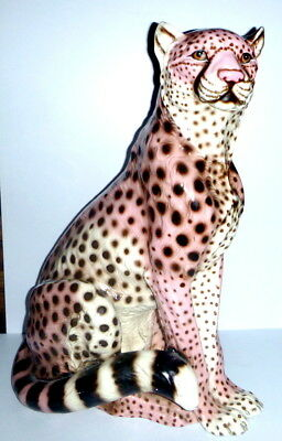"""Vintage LIFESIZE Pink Cheetah Hand Painted & Glazed Over Plaster 39"""" Tall"""