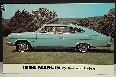 Vintage 1966 RAMBLER MARLIN Photo AUTO AD Postcard American Motors Corporation