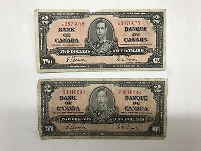1937 Bank of Canada Two Dollar Circulated Note ** FREE U.S SHIPPING ** C