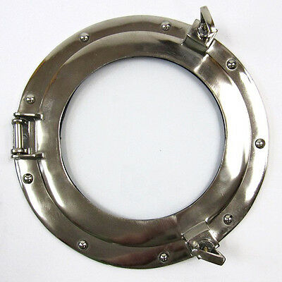 "Ship's Porthole Glass Window 11"" Aluminum Chrome Finish Nautical Wall Decor New"