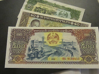 Lot of 3 Laos Banknotes, US Buyer Only