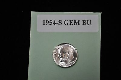 """1954-S Silver Roosevelt Dime Choice/Gem Bu.With """"Mint Luster"""""""