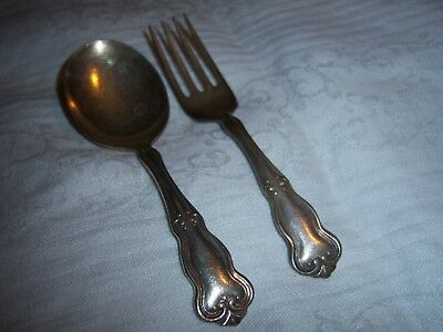 Antique Vintage Silverplate Baby Fork & Spoon Set ~ Conn. Silver Company