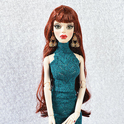 "Wig for Evangeline Ghastly/Ellowyne Wilde Doll Sherry 6-7"" Red Brown long 11VW10"