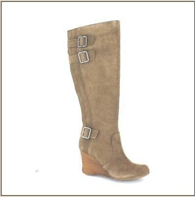 Kenneth Cole Kiss N Tell Taupe Suede Womens Knee-High Boot Size 7.5M