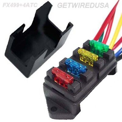 4-Way Atc Auto Fuse Holder Box Wire In 4 Out Power Distribution Panel With Fuses