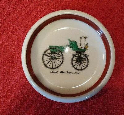 Vintage Selden's Motor Wagon 1877 trinket dish ~ red trim
