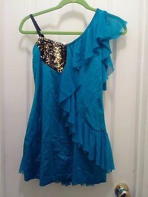 Costume Gallery Adult Large Teal blue  1pc Dance costume outfit w /gold sequins