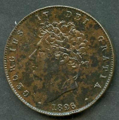 Very  Sharp  1826   King  George   IV   Half   Penny  (1/2d)  Copper  Coin