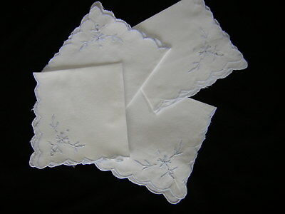 FOUR (4) Vintage Napkins Hankies Blue Embroidered Table Linens Dining Bridal