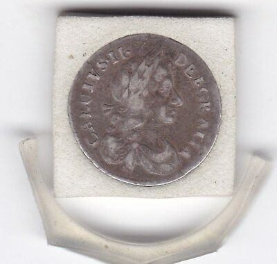 1680  King  Charles   II   Maundy  Four  Pence  (m4d) Silver (92.5%)  Coin
