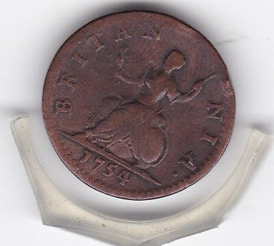 1754   King  George  II   Farthing  (1/4d)  British  Coin