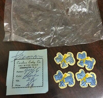 Vintage Old Carolace Emby Co Schnauzer Blue Dog 4 Little Patches