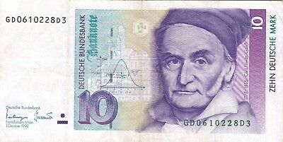Germany.German Currency, Bank note, Paper Money 10 Marks 1993