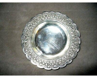 Antique .800 Small Silver Plate Dish Candy Bowl Germany? Christmas 2oz