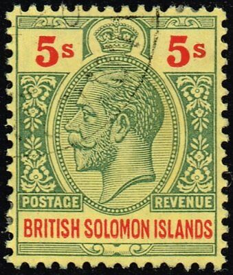 British Solomon Islands 1914 5s. green & red / yellow, used (SG#36)
