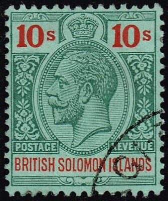 British Solomon Islands 1914 10s. green & red / green, used (SG#37)