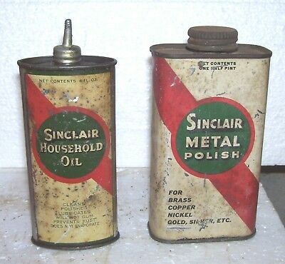 RARE Sinclair 1930s cans  oiler and metal Polish both for 1 bid