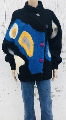 Vintage Gatchalian Italy Oversized Sweater Bright Colours Abstract 80s Size M