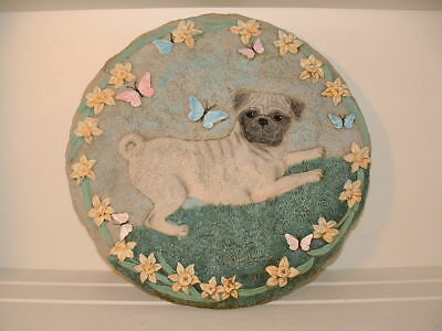 """Pug Stepping Stone """"PUG WITH BUTTERFLY """" by Danbury Mint 12 inch"""