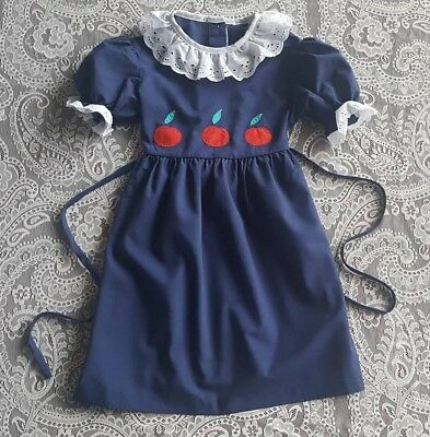 Vintage Girls Navy Blue Apple Dress Childrens Clothes Winnie the Pooh