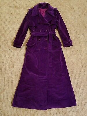 vintage 70s purple velvet spy trench jewel tone maxi belted military dress coat