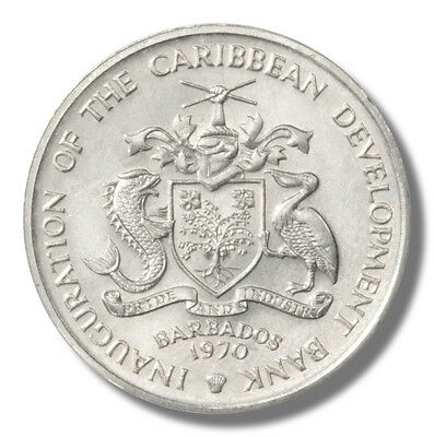 """1970 Barbados FAO Four Dollar Coin BU KM#49 """"Grow More Food for Mankind"""""""