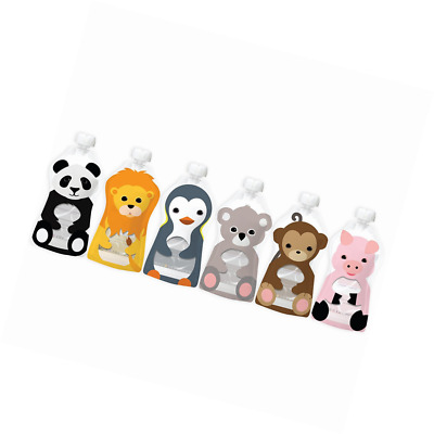 Squooshi 6 Reusable Food Pouches Animal Collection. New Larger Size!