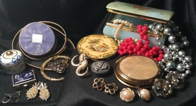 Estate Collection Vintage Antique Vanity Compacts Trinket Boxes Jewellery Lot