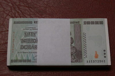 ZIMBABWE 100  ,50, fifty Trillion dollars banknotes UNCIRCULATED. (100 pieces)