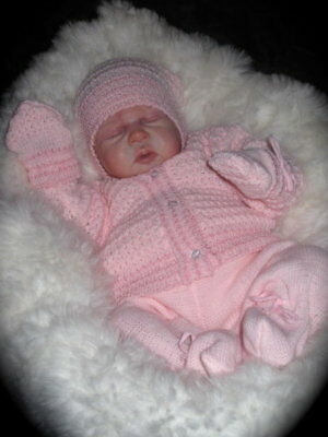 Bnwt~Beautiful Baby Girls 4Pce Knitted Outfit - Newborn/0-3M Baby Or Reborn Doll