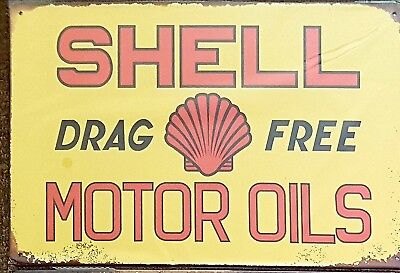 Shell drag free oil tin sign. Mancave Signs Aussie Seller