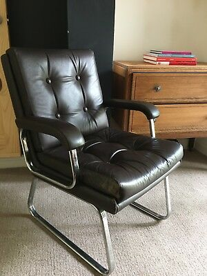 Mid Century Chrome And Leather Danish Style Bauhaus Chair