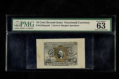 PMG 63 SECOND ISSUE 10 CENTS FACE SPECIMEN FRACTIONAL CURRENCY  Fr.1244SPMF  10c