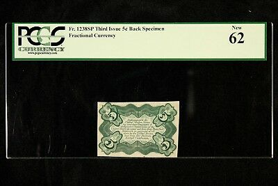 PCGS 62 THIRD ISSUE 5 CENTS BACK SPECIMEN FRACTIONAL CURRENCY  Fr.1238SP  5c