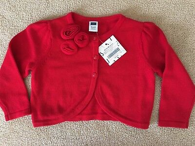 Janie And Jack Girls Red Sweater Button Front Size 12 to 18 months