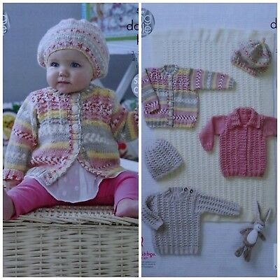 Baby KNITTING PATTERN Easy Cable Blanket Cardigan Jumper Jacket & Hats DK 5082