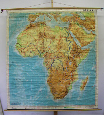 Schulwandkarte Afrika Africa physisch physical map 182x199 ~1965 vintage poster