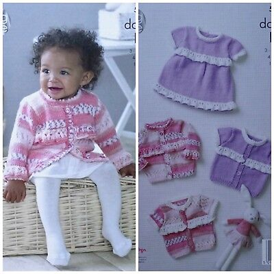 Baby KNITTING PATTERN Baby Lace Frill Cardigans & Dress DK King Cole 5085